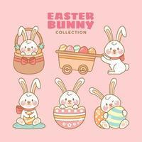 simpatico coniglietto che abbraccia l'uovo di Pasqua vettore