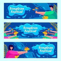striscioni del festival di songkran vettore