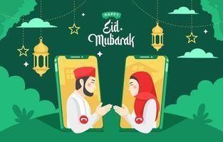 le persone salutano eid tramite videochiamata vettore