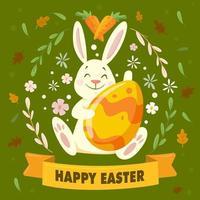 il coniglietto di Pasqua sorridente porta l'uovo vettore