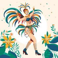 ballerina di samba brasiliana che balla in occasione del carnevale brasiliano vettore
