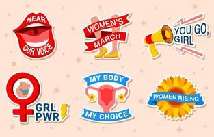 set di adesivi del movimento per i diritti delle donne vettore