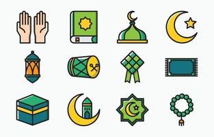 collezione di icone di eid mubarak vettore