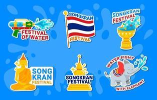 set di adesivi per il festival dell'acqua di songkran vettore
