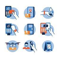 icona della tecnologia contactless vettore
