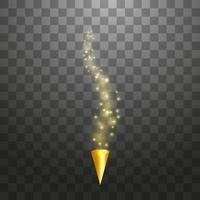 popper di partito giallo con esplosione di particelle di coriandoli sfondo isolato. cono di carta punteggiato con stelle scintillanti. decorazioni festive o magiche. illustrazione vettoriale vacanza.