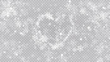 fiocchi di neve a forma di cuore in uno stile piatto in linee di disegno continue. traccia di polvere bianca. magico sfondo astratto isolato su sfondo. miracolo e magia. illustrazione vettoriale design piatto.