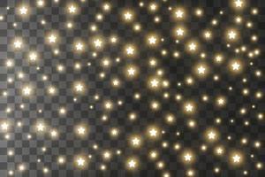 le scintille di polvere e le stelle dorate brillano di luce speciale. il vettore brilla sullo sfondo. effetto luce natalizia. scintillanti particelle di polvere magica.