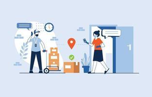concetto di consegna senza contatto vettore