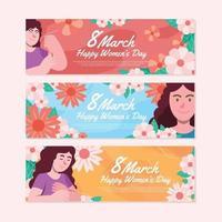 set di banner per la giornata della donna vettore