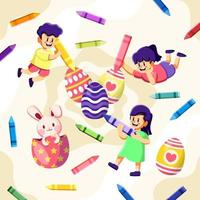 bambini che disegnano uovo di Pasqua con pastelli colorati vettore
