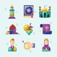 collezione di icone di ramadan vettore