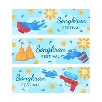 raccolta di banner del festival di songkran vettore