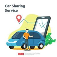 concetto di illustrazione di car sharing. taxi online o noleggio di mezzi di trasporto utilizzando l'applicazione di servizio per smartphone con posizione dei caratteri e dei punti di percorso sulla mappa gps per pagina di destinazione, banner, web, interfaccia utente, volantino