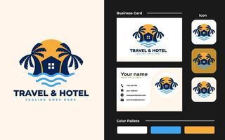 logo della casa sulla spiaggia e modello di progettazione di biglietti da visita - buono da usare per resort sulla spiaggia, villa e hotel sulla spiaggia vettore