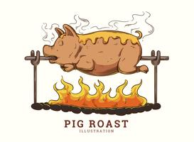 Illustrazione di maiale arrosto vettore