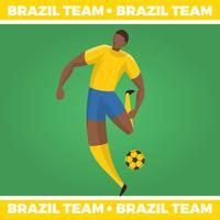 Vettore piano del carattere di calcio brasiliano
