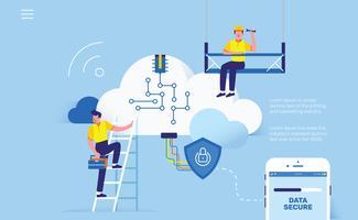 Ingegneri della nuvola per l'illustrazione di vettore del dispositivo del telefono di risparmio dei dati
