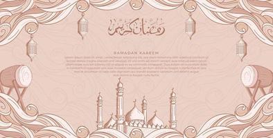 Ramadan Kareem con la moschea islamica disegnata a mano e il fondo dell'illustrazione della lanterna vettore