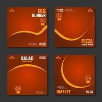 raccolta di modello di post sui social media per menu di cibo vettore