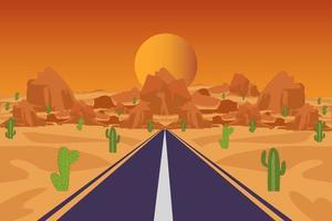 cactus nel deserto con montagne e strada vettore
