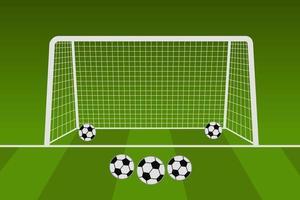 rete da calcio con palloni da calcio vettore