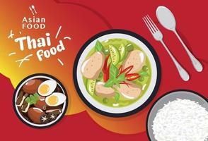cibo tailandese impostato tradizionale, cibo asiatico menu illustrazione vettoriale