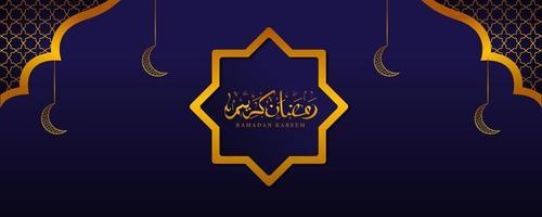 calligrafia araba ramadan kareem con ornamenti islamici in colore oro vettore