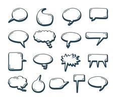 bolle di discorso doodle insieme di elementi. illustrazione vettoriale di schizzo disegnato a mano