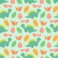 carino dinosauri pattern design illustrazione vettoriale seamless pattern con i dinosauri