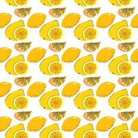 elementi di frutta avvolgimento senza soluzione di continuità limone, fette di lime. motivo senza cuciture arancione per decorazione, sfondo, progetto personale e molti altri vettore