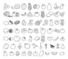 insieme di doodle di elemento di frutta. illustrazione di doodle vettoriale di frutta. cibo sano vegetariano, schizzo di cibo per l'illustrazione del menu