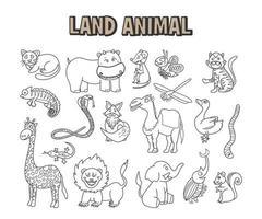 set di elemento doodle linea animale terrestre. da colorare pagina disegnata a mano con simpatici animali della savana vettoriale