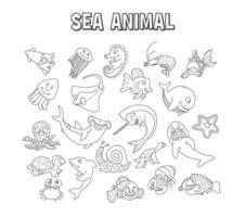 set di elemento doodle animale marino. set di animali marini vettore