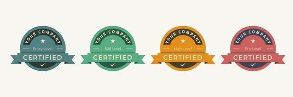 modello di badge logo certificato. emblema di certificazione digitale con concept design vintage. illustrazione vettoriale. vettore