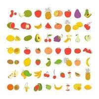 set di elementi da colorare di frutta. set di illustrazione vettoriale di frutta