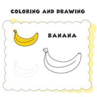 libro da colorare e disegno elemento banana singolo. disegno di una banana per l'educazione dei bambini vettore