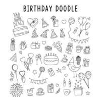 set di elemento doodle regalo compleanno. set vettoriale di diversi elementi di vacanza disegnati a mano. illustrazione vettoriale. Vector doodle set, nastro rosso, illustrazione con regali, regali disegnati a mano su sfondo bianco,