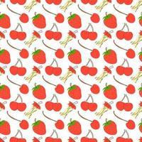 seamless con frutta ciliegia, fragola, mela. ciliegia disegnata a mano isolata su fondo bianco. stile doodle. modello senza soluzione di continuità. elemento di design per tessuto, carta da parati o involucro senza cuciture. stile disegnato a mano. vettore