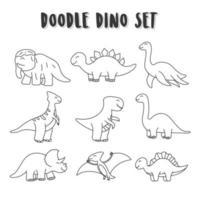 set di dinos doodle elemento. dinosauri impostare la colorazione per i bambini vettore