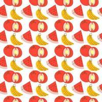 modello di frutta con colorazione, anguria, banana, pomodoro. Vector seamless pattern di frutta e verdura