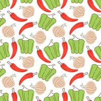 modello vegetale con composizione paprika, peperoncini rossi, elemento aglio. perfetto per sfondo di cibo, carta da parati, tessuto. illustrazione vettoriale