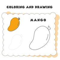 libro da colorare e disegnare elemento mango. vettore