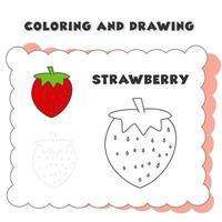 colorazione e disegno libro elemento fragola. disegno di una fragola per l'educazione dei bambini vettore