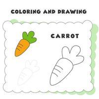 libro da colorare e disegnare elemento carota. illustrazione di verdure disegnate a mano per il disegno del libro da colorare educativo - fumetto di contorno vettoriale