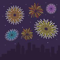 Illustrazione piana di vettore dei fuochi d'artificio