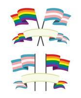le bandiere colorate e i nastri per il set lgbt e transgender vettore
