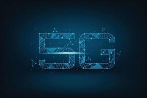 Simbolo di rete 5g con connessione di linea su sfondo blu scuro, servizio internet e concetto di rete online vettore