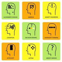 linea arte icona della mente umana, processo di pensiero, caratteristiche, malattie e termini psicologici vettore