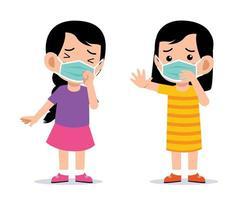 bambini carini che indossano il vettore di protezione della maschera per il viso